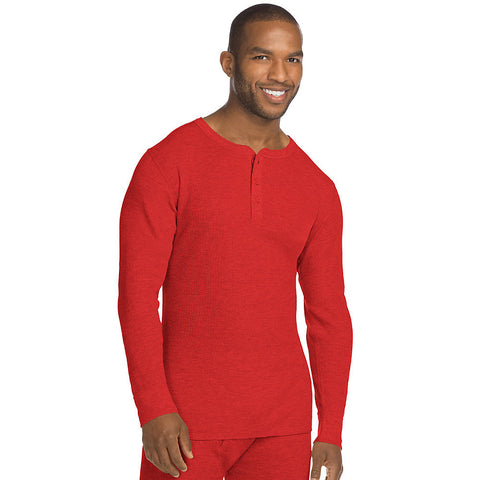 Hanes X-Temp; Men's Organic Cotton Thermal Henley|Size S|Color Red