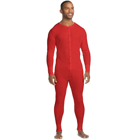 Hanes X-Temp™ Men's Organic Cotton Thermal Union Suit|Size S|Color Red