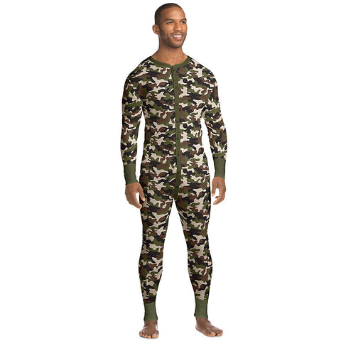 Hanes X-Temp™ Men's Organic Cotton Camo Thermal Union Suit|Size S|Color Camo