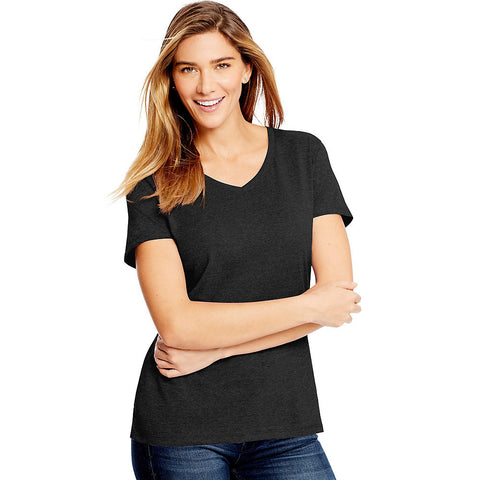 Hanes Women's X-Temp w/Fresh IQ Tri-Blend Performance V-Neck Tee|Size S|Color Black