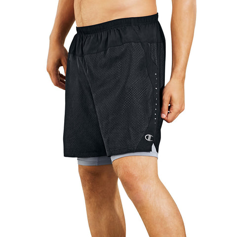 Champion Men's Cool CTRL Run Shorts with Compression Liner|Size S|Color Black/Concrete