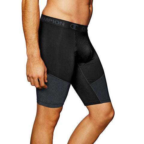 Champion PowerFlex 9' Men's Solid Compression Shorts|Size S|Color Black