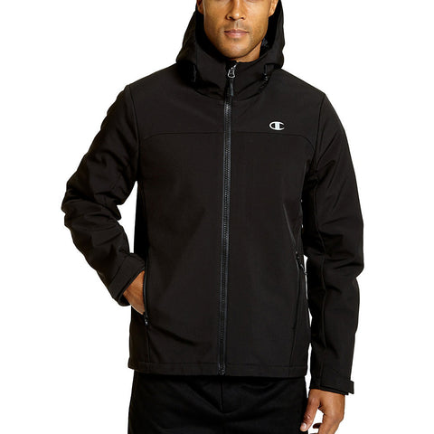 Champion Men's Big Softshell Jacket With Quilted Synthetic Down|Size 2X|Color Black