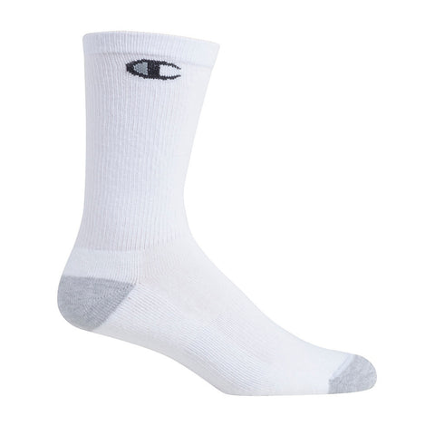 Champion Men's Crew Socks 6-Pack|Size 6-12|Color White/Black