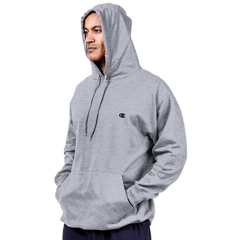 Champion Big & Tall Men's Pullover Fleece Hoodie with Contrast Liner|Size XLT|Color Heather Grey