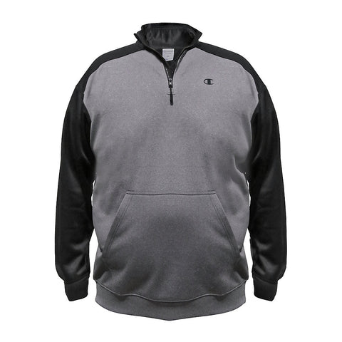 Champion Big & Tall Performance Pieced 1/4 Zip|Size 4XL|Color Granite Heather/Black