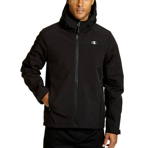 Champion Men's Softshell Jacket With Quilted Synthetic Down|Size L|Color Black