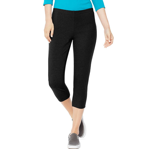 Hanes Women's Stretch Jersey Capri|Size S|Color Black