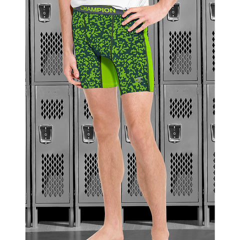 Champion PowerFlex Men's Print Compression Shorts|Size S|Color Reflector Green Geo Drifts/Reflector Green