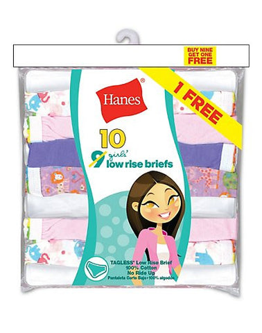 Hanes Girls' ComfortSoft Low Rise Briefs 10-Pack (Includes 1 Free Bonus Bikini Brief)