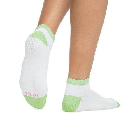 Hanes Women's Low Cut Cushion Socks 6-Pack|Size 9-11|Color White