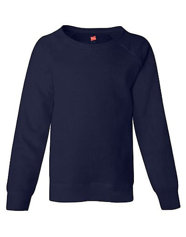 Hanes Girls' Raglan V-Notch Crewneck Sweatshirt|Size XS|Color Navy