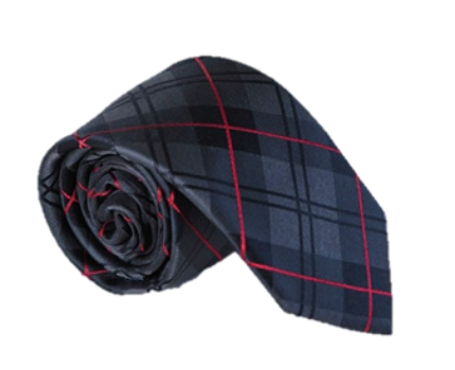 Grey Black and Red Checked 100% Silk Necktie