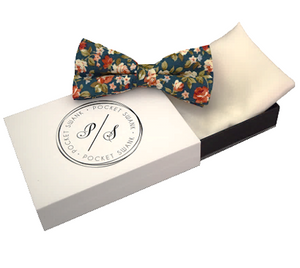 Turquoise Floral Bow Tie and White Silk Pocket Square