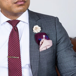 Silk Tie, Tie Clip and Pocket Square