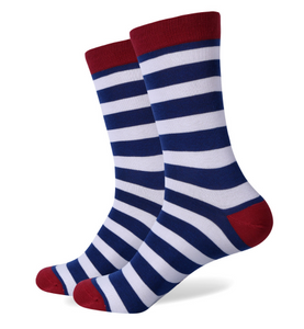 Navy and White Striped Socks