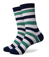 Green, Navy and White Striped Socks