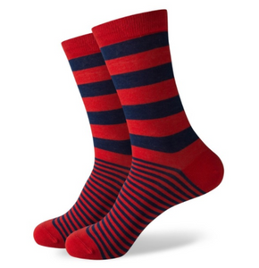 Navy and Red Striped Dress Socks for Men