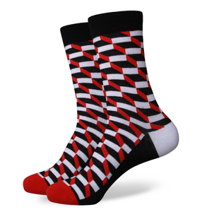 Red Black and White Patterned Funky Socks