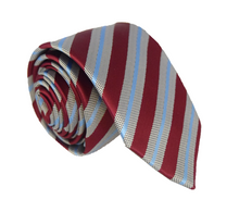 Maroon Grey and Blue Striped Polyester Pocket Square
