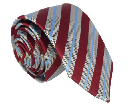 Maroon, Grey and Blue Striped Tie