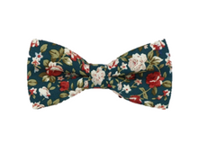 Turquoise Floral Cotton Bow Tie