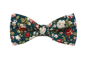 Turquoise Floral Bow Tie