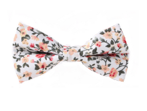 White Floral Bow Tie