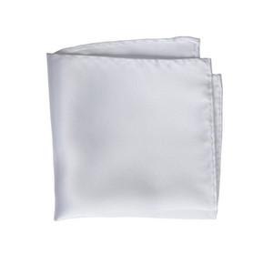 White 100% Silk Handmade Pocket Square