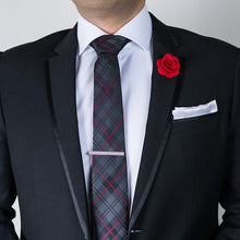 Silk Tie, Lapel Flower Pin and Pocket Square