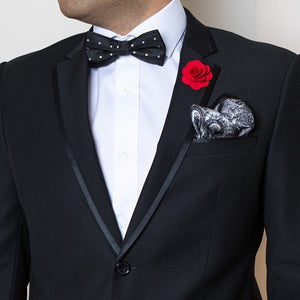 Bow Tie, Lapel Flower Pin and Pocket Square