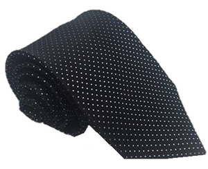 Black and White Polka Dot 100% Silk Necktie