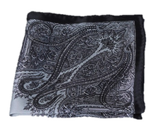 Grey and Black Detailed 100% Silk Pocket Square