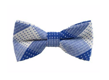 Blue and White Cotton Bow Tie