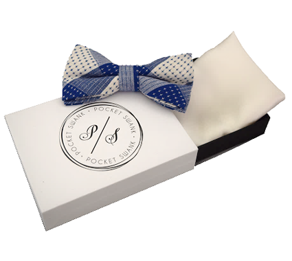 Blue and White Cotton Bow Tie and White Silk Pocket Square