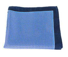 Blue and Navy Polka Dot 100% Silk Pocket Square