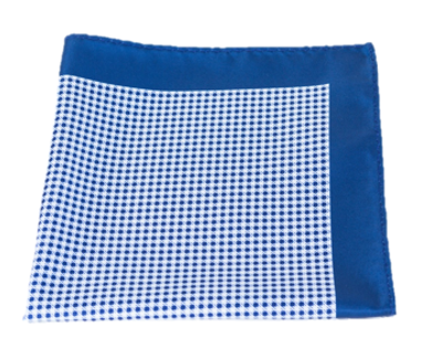 Blue and White Checked Polyester Pocket Square