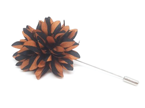 Dark Orange and Black Striped Lapel Flower Pin