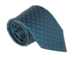 Green with Blue and Black Floral 100% Silk Necktie