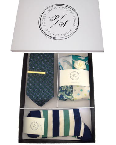 Men;s Gift Set including Tie, Tie Clip, Pocket Square, Lapel Flower and Socks