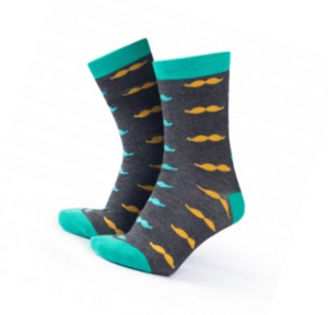Grey and Turquoise Moustache Socks
