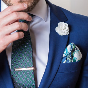 Necktie, Tie Clip, Lapel Flower and Pocket Square