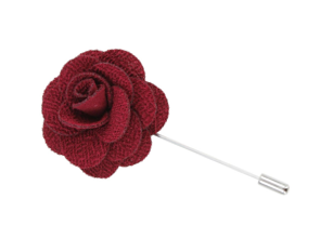 Maroon Lapel Flower Pin