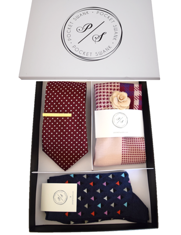 Gift Set with Tie, Tie Clip, Pocket Square, Lapel Flower and Socks