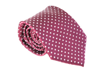 Maroon and White Polka Dot 100% Silk Necktie