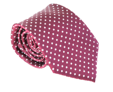 Maroon with White Polka Dots 100% Silk Necktie