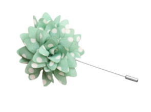 Mint Green and White Polka Dot Lapel Flower Pin