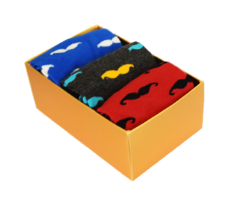 3 Pack Moustache Socks
