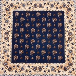 Detailed View of Navy and Beige Silk Pocket Square