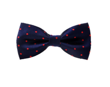 Navy and Red Polka Dot Bow Tie